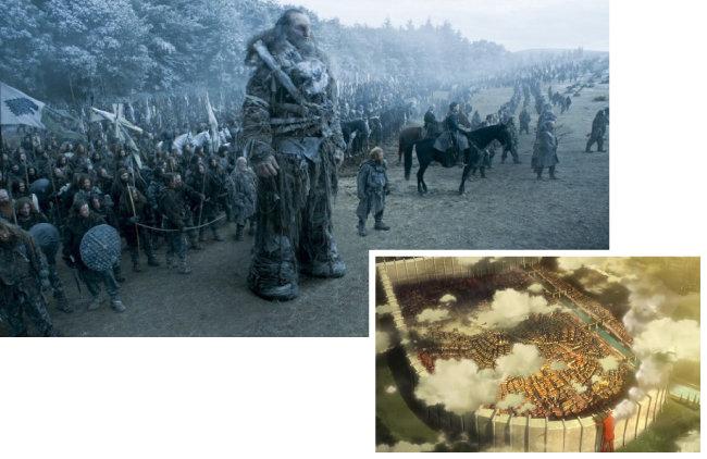 드라마 '왕좌의 게임'에 나오는 거인족(위)과  애니메이션 '진격의 거인' 방벽. [HBO 제공, 일본 MBS '진격의 거인' 방송화면 캡처]
