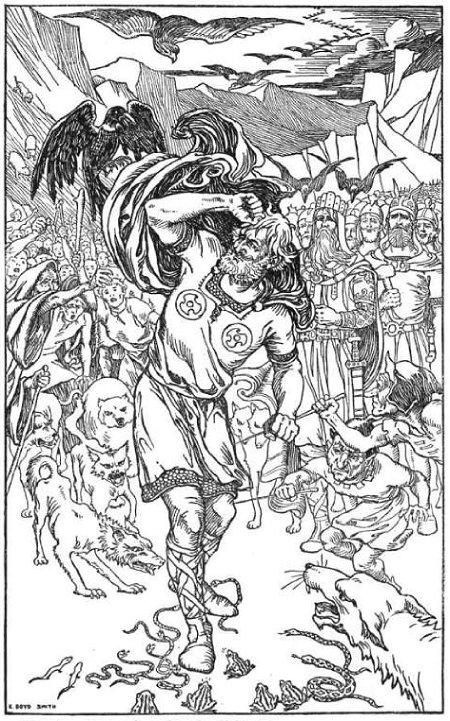 발데르를 죽음에 이르게 한 로키를 공격하는 동물들, Elmer Boyd Smith, 1902