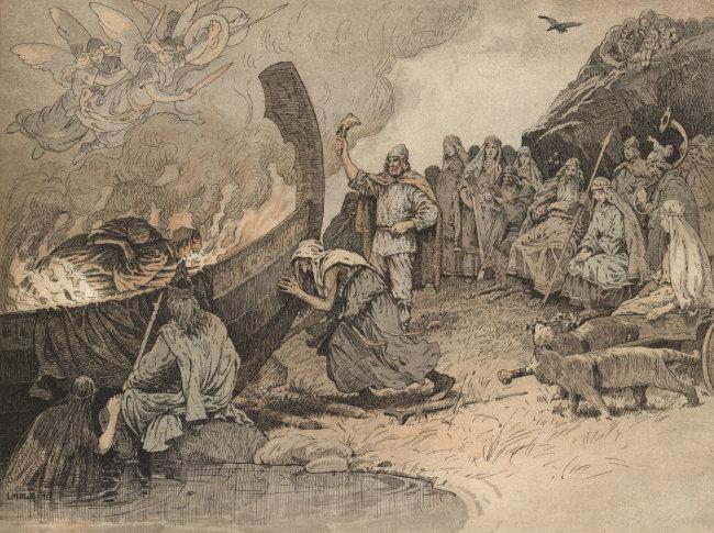 발데르의 선장(船葬), Louis Moe, 1898