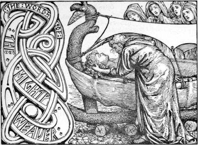 발데르에게 마지막으로 작별 인사를 하는 오딘, W. G. Collingwood, 1908