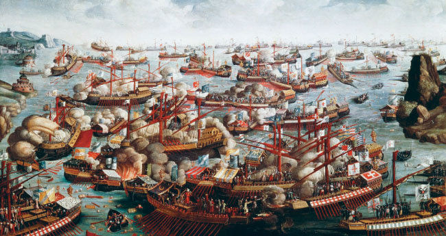 레판토해전을 묘사한 그림. [런던 국립해양박물관]