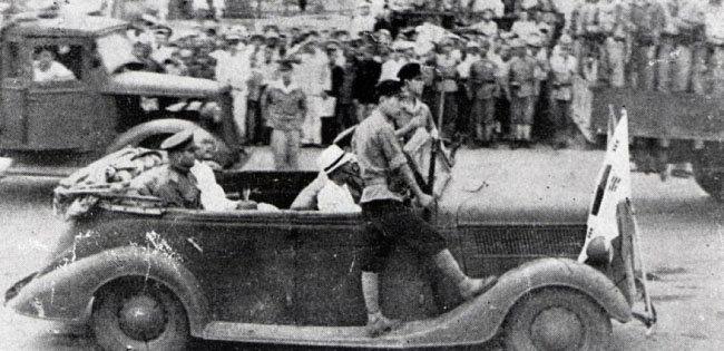 1945년 8월 24일 함경남도 함흥에 도착한 소련 극동군 제25군. [독립기념관 제공]