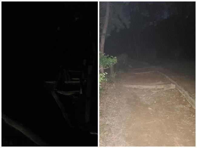 9월 27일 오후 10시경 관악산 중턱. 플래시 켜기 전(왼쪽)과 후(오른쪽). 솔직히 너무 무서웠다.