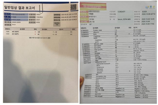 간 수치(AST·ALT)가 높게 나온 결과지(왼쪽)와 재검사 결과지(오른쪽). 다행히 간 수치는 낮아졌지만, 신장 수치(BUN·혈액요소질소)가 높게 나와 단백질 섭취를 줄이라는 조언을 들었다.