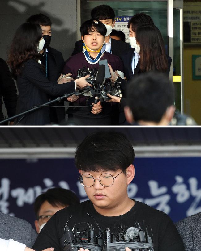3월 25일과 5월 18일 '박사' 조주빈(위)과 '갓갓' 문형욱(아래)이 경찰 조사를 마치고 검찰에 송치되고 있다. [뉴스1]