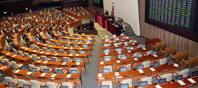 2019년 12월 30일 서울 여의도 국회 본회의장에서 고위공직자범죄수사처 설치 및 운영에 관한 법률안이 통과되고 있다. [뉴스1]