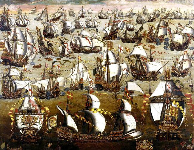 1588년 칼레 해전 기록화. [영국 국립해양박물관]