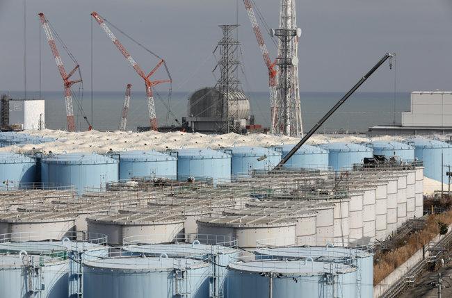 일본 후쿠시마 제1원전 부지에 놓인 오염수를 담은 탱크들. [후쿠시마=김범석 동아일보 특파원]