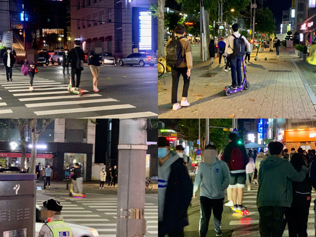 10월 28일 밤 10시경 서울 강남구 대치동에서 시민들이 전동킥보드를 이용하고 있다. [문영훈 기자]