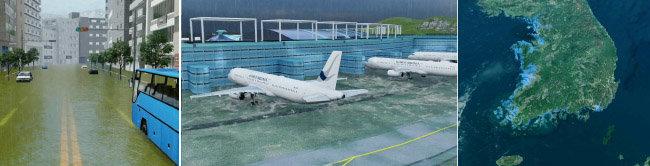 환경단체 그린피스는 2030년 해수면 상승과 10년에 한 번꼴로 발생하는 강도의 태풍이 더해지면 부산 해안가와 인천공항(왼쪽부터) 등 한국 영토 일부가 물에 잠길 것으로 전망했다. 해당 시뮬레이션 영상을 캡처한 사진.  [그린피스 제공]