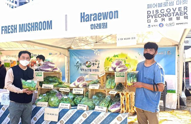 10월 31일 경기 평택시 안정리 농산물장터행사에서 직접 경작한 농산물을 홍보하는 청년 농부들.