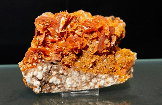 울페나이트(Wulfenite)  납에서 유래한 2차 광물. 울페나이트라는 명칭은 최초 발견자인 광물학자 F.X. 불펜 이름에서 따왔다.