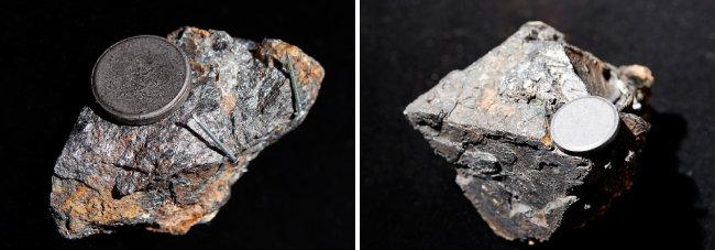 자철석(Magnetite)  자성을 띠는 대표적인 광물. 과거엔 자철석으로 만든 천연 나침반을 이용해 방향을 확인했다.