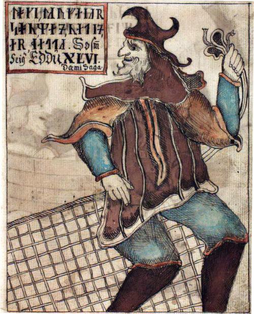 그물을 갖고 있는 로키, 18세기 아이슬란드 필사본 삽화.