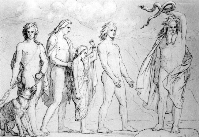 로키의 자식들을 유폐하는 오딘, Lorenz Frølich, 1906.