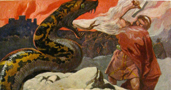 토르와 왕뱀 요르문간드, Emil Doepler, 1905년경.