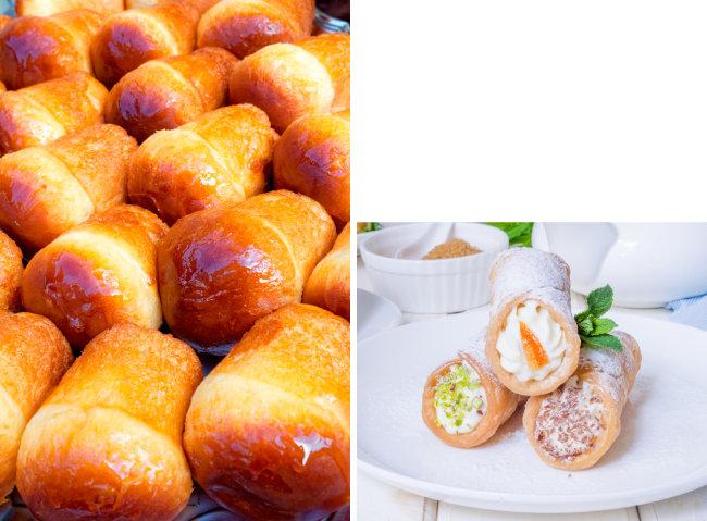 이탈리아 사람들이 사랑하는 폭신하고 달콤한 디저트 바바(왼쪽). 바삭한 과자 속에 신선하고 달콤한 치즈 크림을 넣은 카놀리. [GettyImage]