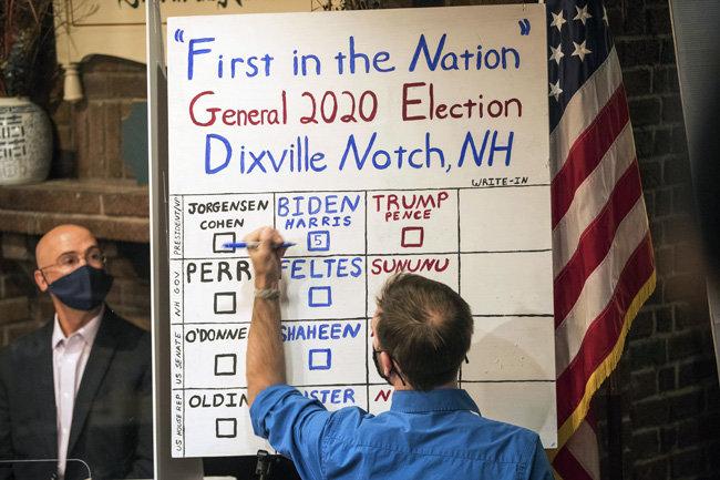미국 대통령선거가 치러진 11월 3일(현지시간) 뉴햄프셔주 북부 딕스빌노치 마을에서 투표를 마친 뒤 개표가 이뤄지고 있다. 뉴햄프셔주 법률에 따라 100명 이하의 마을은 0시에 투표를 시작하고 그 결과를 투표 종료 직후 바로 공개할 수 있다. [딕스빌노치=AP뉴시스]