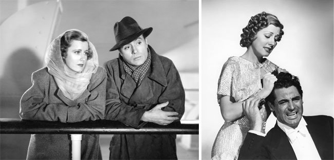 1939년 '러브 어페어' 스틸컷. 주인공 테리 매케이(아이린 던 분)과 미셸 마넷(샤를 보와이에 분)(왼쪽). 레오 매커리 감독의 1937년작 '이혼소동' 스틸컷. [RKO Radio Pictures, Columbia Pictures]
