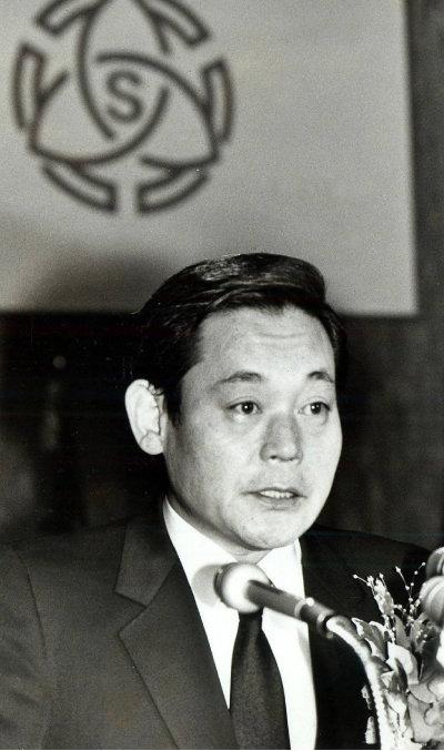 1987년 12월 1일 서울 중구 호암아트홀에서 열린  취임식에서 발언하는 고(故) 이건희 삼성그룹 회장. [동아DB]