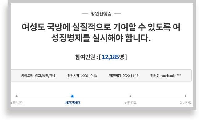 청와대 국민청원 게시판에 올라온 '여성도 국방에 실질적으로 기여할 수 있도록 여성징병제를 실시해야 합니다' 제하의 청원에 1만2185명이 동의했다(11월 17일 기준). [청와대 홈페이지 캡처]