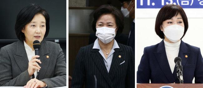 박영선 중소벤처기업부 장관, 추미애 법무부 장관, 전현희 국민권익위원장(왼쪽부터).