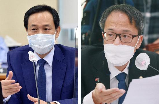 더불어민주당 우상호·박주민 의원(왼쪽부터).