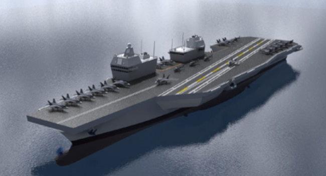한국형 항공모함 모델. 문재인 정부는 핵잠수함뿐 아니라 경항공모함 건조도 추진하고 있다. [해군 제공]