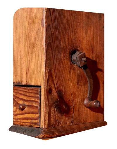 '박스 밀(Box mill)'로 불리는 초기 커피분쇄기. 나무로 만들어졌다. 1750년대 제품.