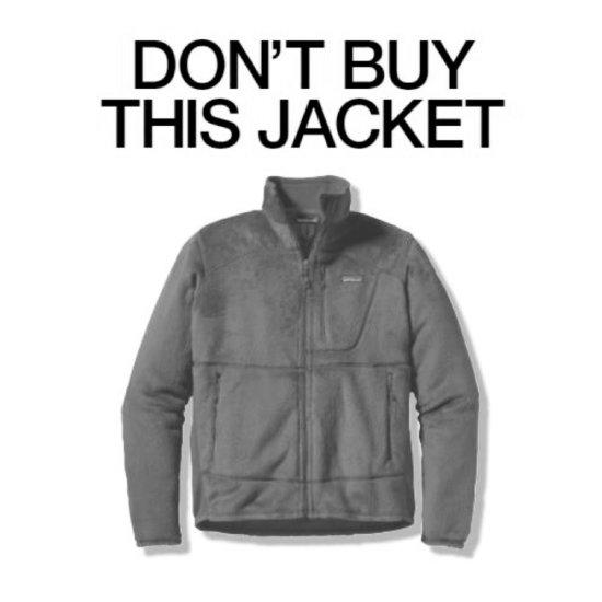"""""""이 재킷을 사지 마시오(DON'T BUY THIS JACKET)""""라는 문구가 적힌 파타고니아 광고."""