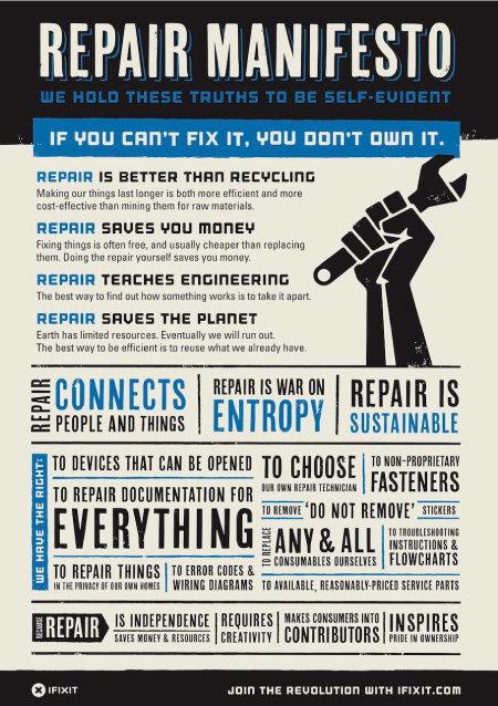 """글로벌 사회적 기업 아이픽스잇(iFixit)이 게시한 자가 수리 선언문. 이들은 """"수리할 수 없다면 소유한 것이 아니다""""라고 주장한다. [아이픽스잇]"""