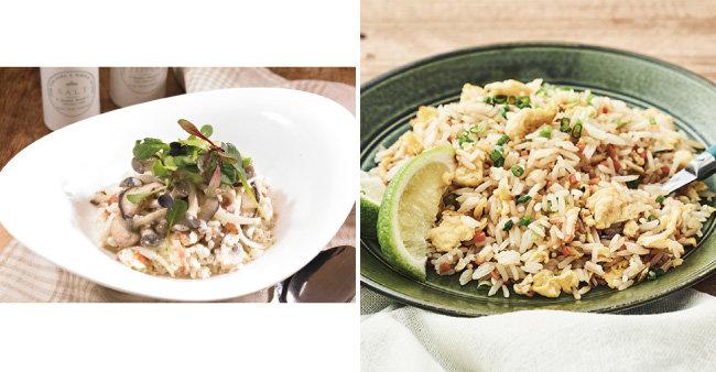 버섯과 크림소스로 맛을 낸 버섯리조토(왼쪽).  안남미로 만들어 바스락거리는 볶음밥. [GettyImage, 마켓컬리 제공]