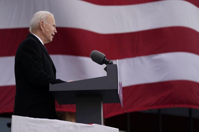 1월 19일(현지시간) 미국 델라웨어주 뉴캐슬에서 연설하는 조 바이든 대통령.  [뉴시스]