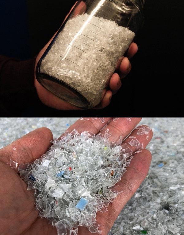 수퍼빈이 생산하는 플라스틱 펠릿과 재활용업체가 만드는 플라스틱 펠릿(아래). [수퍼빈 제공]