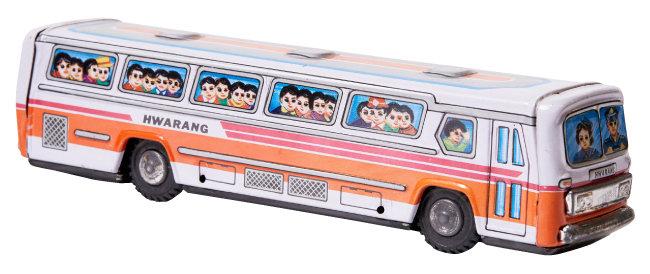 1960년대 후반 화랑공업사(MTU)가 제작해 수출한 화랑버스. 제품에 회사 이름 화랑(HWARANG)이 씌어 있다.