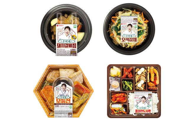 세븐일레븐이 '국민 엄마' 김수미 브랜드를 활용해 출시한 설 상품들. [세븐일레븐 제공]