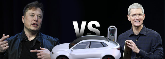 글로벌 전기차(EV) 시장을 놓고 일전을 준비 중인 일론 머스크 테슬라 CEO(왼쪽)와 팀 쿡 애플 CEO. [AP뉴시스]