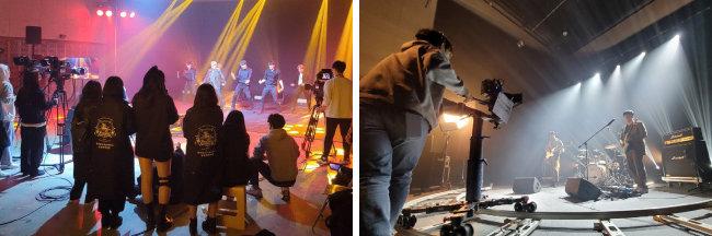 동아방송예술대학 K-Pop 전공 계열 수업 모습(위)과 '브릿지TV' 제작 현장. [동아방송예술대 제공]