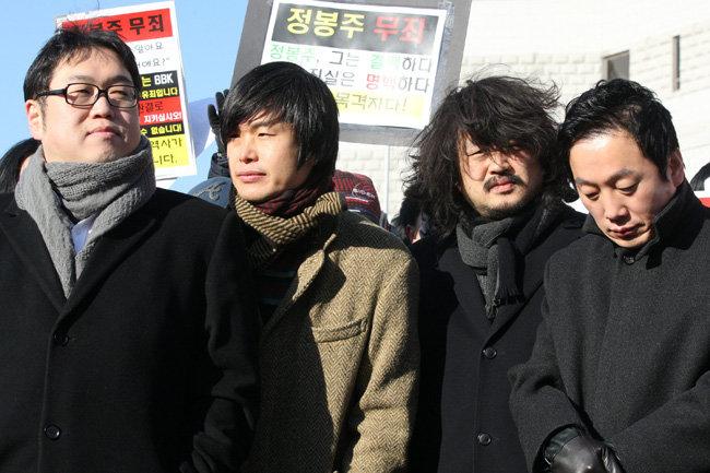 팟캐스트 '나는 꼼수다' 활동 시절인 지난 2011년 12월 22일 당시 김용민, 주진우, 김어준, 정봉주 씨(왼쪽부터). [양회성 동아일보 기자]