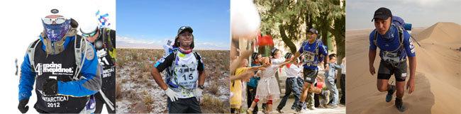 최규영 씨는 28세인 2012년 12월 남극마라톤대회를 완주함으로써 칠레 아타카마 사막(3월), 중국 고비 사막(6월), 이집트 사하라 사막(11월)을 포함해 4대 극지마라톤대회를 1년 만에 주파하는 대기록을 달성했다(사진 왼쪽부터).    [최규영 제공]