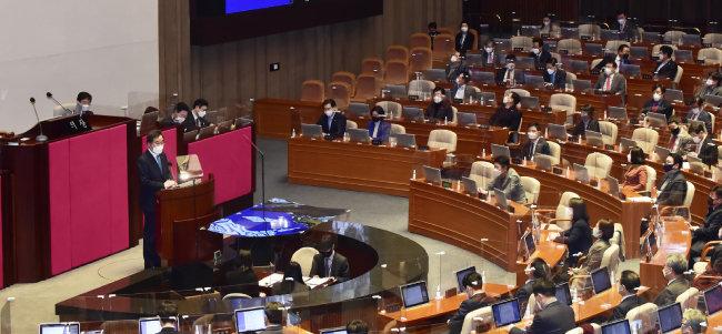 이낙연 더불어민주당 대표는 2월 2일 국회에서 열린 교섭단체 대표 연설에서 '재난지원금 지급' 구상을 밝혔다. [뉴스1]