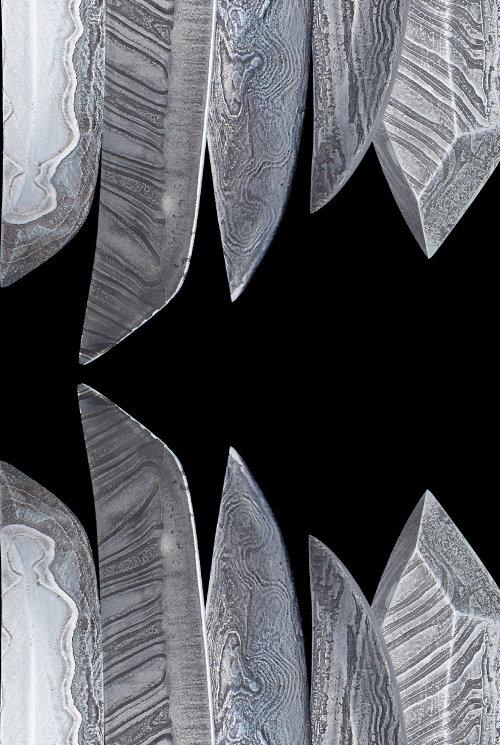 겹치고 쌓고 붙여서 만든 다마스쿠스 칼날 무늬들.