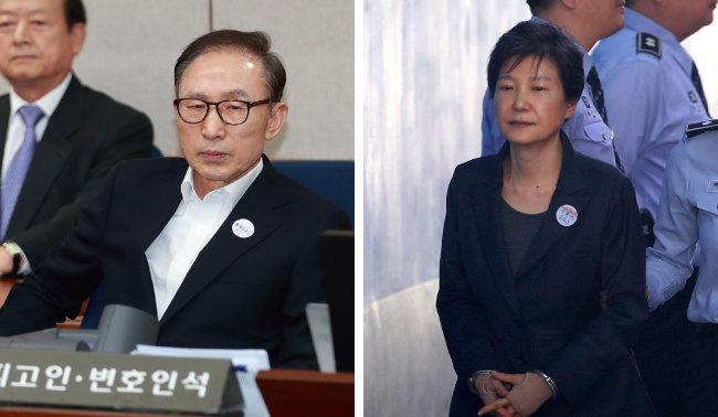 수감 중인 이명박(왼쪽) 박근혜 전 대통령. [동아DB]