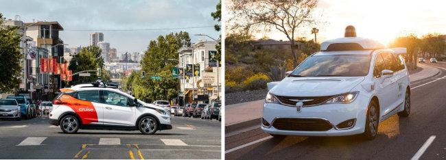 마이크로소프트가 투자한 GM의 자율주행차 크루즈(왼쪽). 구글의 자율주행 시스템 웨이모를 탑재한 차량이 달리고 있다(오른쪽). [GM 제공, 웨이모 홈페이지 캡쳐]
