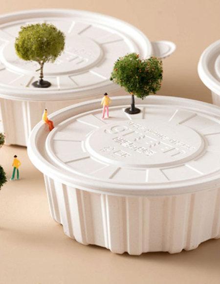 '배민상회'의 친환경 플라스틱 1회용 음식 포장용기. [배민상회 제공]