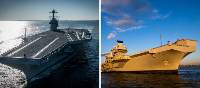 미국 항공모함 USS 제럴드R포드호(왼쪽)와 영국 퀸 엘리자베스호. [AP=뉴시스]