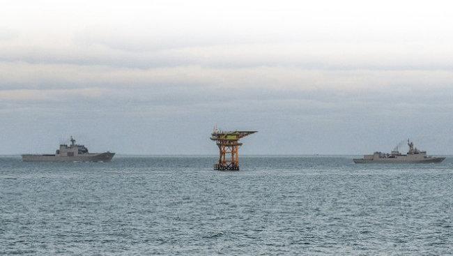 마라도에서 149km 떨어져 있는 이어도 종합해양과학기지.  [해군본부 제공]