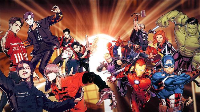 SM엔터테인먼트는 마블 히어로 캐릭터와 협업함으로써 자사 아이돌그룹 슈퍼엠(SuperM)의 세계관을 확장했다. [SM엔터테인먼트 제공]
