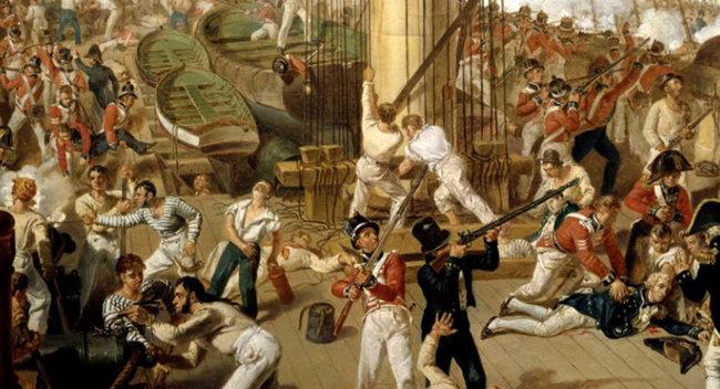 빅토리함 위에서 연합함대와 영국함대 수병들이 얽혀 백병전을 벌였다. [gettyimages]