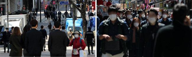 4월 14일 서울 중구 명동 식당거리에서 직장인들이 점심식사를 위해 발걸음을 옮기고 있다. 사회적 거리두기 2단계가 장기화한 가운데 하루 확진자 수가 700명을 오가며 시민 불안이 커지고 있다. [뉴스1]
